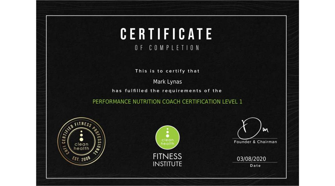 PERFORMANCE NUTRITION COACH CERTIFICATION